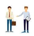 two businessmen make a contract vector image