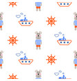 Marine boy pattern with sailor dog seamless vector image