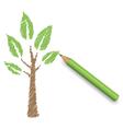 Pencil draws green tree Eco spring floral vector image