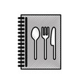 recipe book with cutlery kitchen vector image