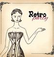 Retro party invitation design vector image