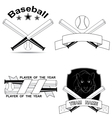 set of stylish baseball shortcuts vector image