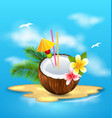 exotic coconut cocktail with frangipani and palm vector image