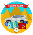 summer holiday poster with travelling car road vector image