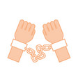 hand human with chains vector image