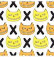 cats skull seamless pattern halloween background vector image