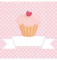 Cupcake on pink background with white polka dots vector image
