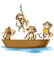 Monkeys on boat vector image vector image