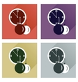 Set of flat icons with shadow clock and Christmas vector image