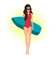 girl with a surfing board vector image