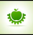 Green apple make gear shape business technology vector image