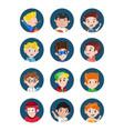 happy little boys avatar icon set vector image