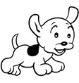 Happy puppy with a leash eps 10 vector image