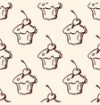 Pattern with sweet fruit cake vector image