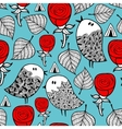 Red roses and romantic birds seamless pattern vector image