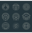 Retro hipster logos and labels with radial vector image