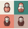 Russian doll groom and bride wedding icons vector image