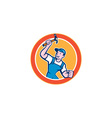 Builder Carpenter Holding Hammer Circle Cartoon vector image