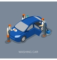 Autoservice Team Washing Car Isometric Banner vector image