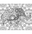 Ethnic Indian elephant over ornate background vector image