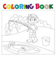 a boy is fishing book coloring book vector image