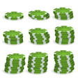 green poker chips stacks realistic set vector image