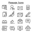 mail message newsletter icon set in thin line vector image