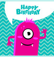 monster party card design happy birthday card vector image