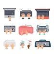 Keyboard hands set vector image