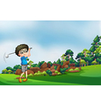 A boy playing golf at the forest vector image