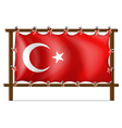 A wooden frame with the flag of Turkey vector image