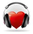 Red heart with headphones music concept vector image