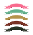 Retro color ribbon banner set on white background vector image
