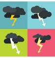 Thunderclouds flat icons on color background vector image