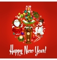 Happy New Year poster Ornament ball symbol vector image vector image