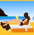 girl on beach design flat vector image