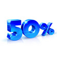 glossy blue 50 fifty percent off sale isolated vector image