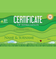 modern colorful ecology certificate or diploma vector image