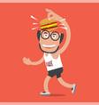 runner with hamburger vector image vector image
