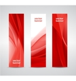 set of abstract wavy red banners vertical vector image