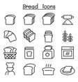 bread loaf bakery pastry icon set in thin line vector image