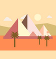 desert egypt pyramids sunset flat vector image