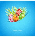 Easter blue background with egg and grass vector image