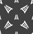 Railway track icon sign Seamless pattern on a gray vector image
