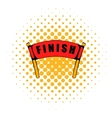 Red ribbon in finishing line icon comics style vector image