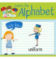 Flashcard letter U is for uniform vector image