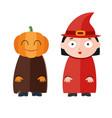 cute kids wearing halloween vector image
