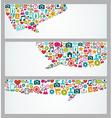 Social media icons talk bubble banners set vector image