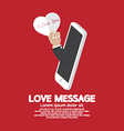 Heart In Hand From Smartphone Love Message Concept vector image