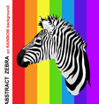 Zebra portrait on abstract rainbow strips vector image